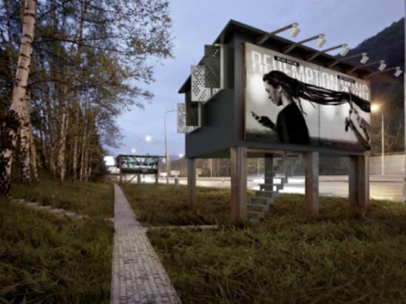 Na Eslováquia, outdoors são transformados em minicasas para moradores em situação de rua