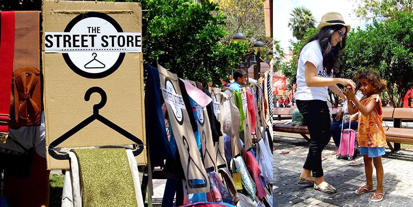 Projeto coloca varais nas ruas para sem-teto poderem escolher o que vestir