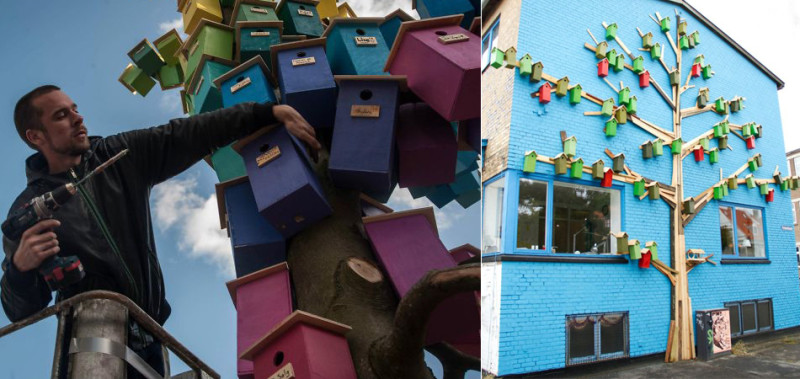 Designer constrói mais de 3 mil casas de passarinhos para protegê-los da poluição sonora nas cidades