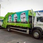 Empresa que coleta lixo em SP grafita rosto de garis em seus caminhões para agradecê-los por seu trabalho