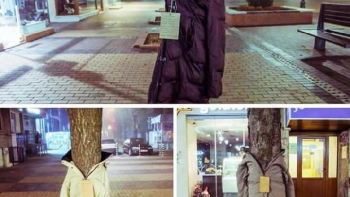 No inverno europeu, roupas de frio são colocadas em árvores para oferecer aos sem-teto