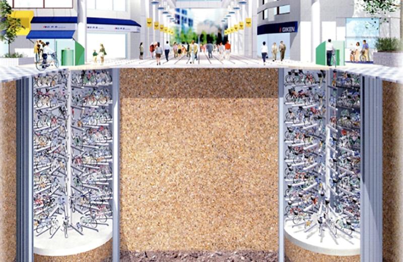 O incrível estacionamento japonês que 'enterra' as bikes na rua. Veja vídeo!