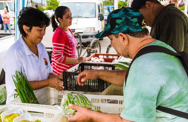 Em SP, moradores podem trocar lixo reciclável por frutas, pães e peixes