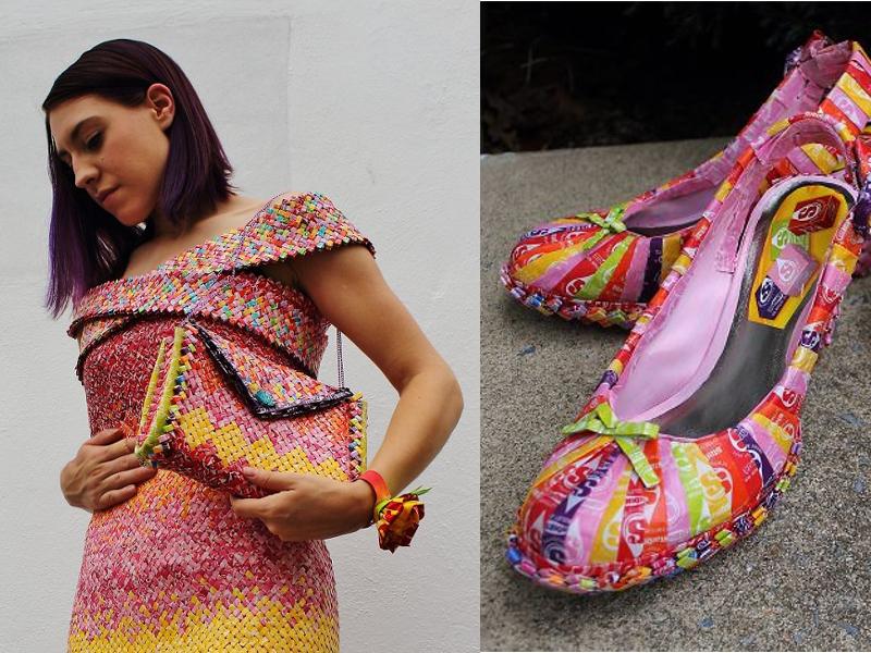 Artista transforma papéis de bala em vestido, bolsa e sapato superestilosos