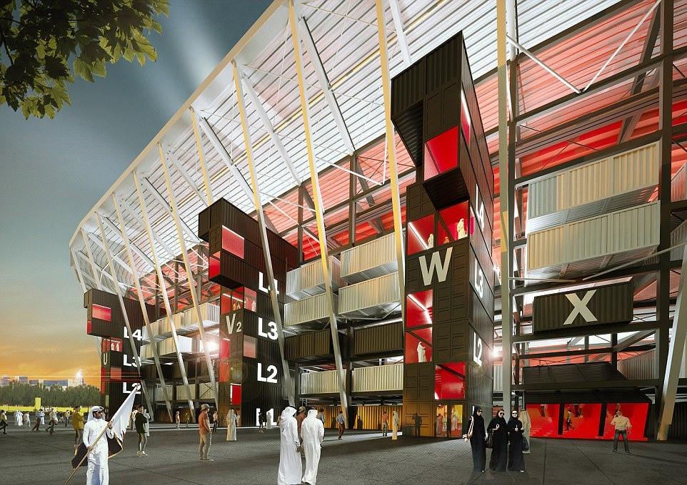 Diferente do Brasil, Copa de 2022 no Catar terá estádio 100% desmontável feito de contêineres