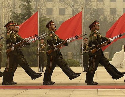 Members of a Chinese military honor guard march during a welcome ceremony for Chairman of the Joint Chiefs of Staff Marine Gen. Peter Pace at the Ministry of Defense in Beijing, China, March 22, 2007. DoD photo by Staff Sgt. D. Myles Cullen. (Released)